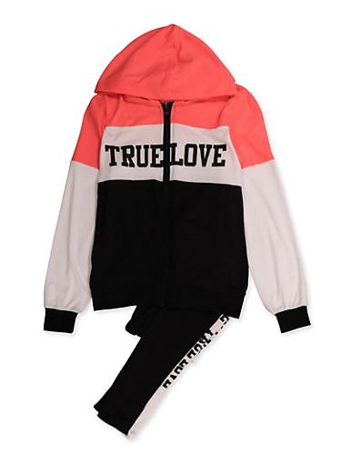 Girls 7-16 True Love Color Block Sweatshirt and Sweatpants,WHITE,large