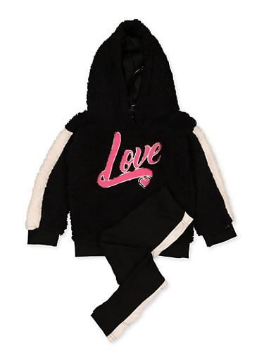 Girls 7-16 Love Sherpa Sweatshirt with Leggings,BLACK,large