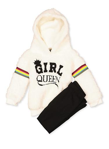 Girls 7-16 Girl Queen Sherpa Sweatshirt with Leggings,BLACK,large
