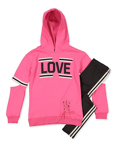 Girls 7-16 Love Lace Up Sweatshirt with Leggings,PINK,large