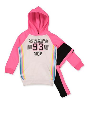 Girls 7-16 Whats Up 93 Sweatshirt with Leggings,WHITE,large