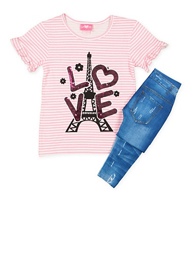 Girls 7-16 Sequin Graphic Top and Printed Leggings,PINK,large