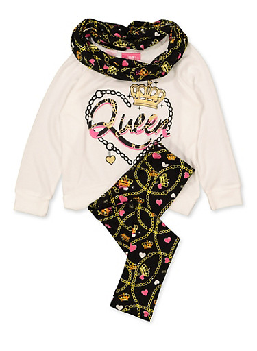 Girls 7-16 Knit Queen Top with Leggings and Scarf,IVORY,large