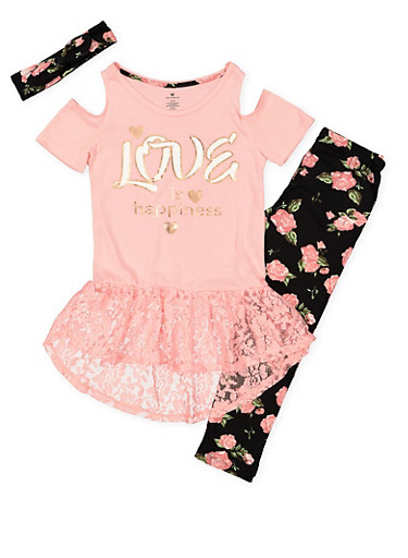Girls 7-16 Graphic Top with Leggings and Headband,PINK,large