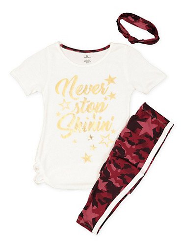 Girls 7-16 Graphic Tee with Leggings and Headband,WINE,large