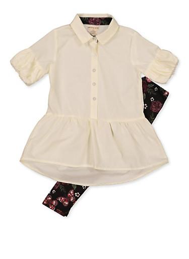 Girls 7-16 Ruffled Shirt and Printed Leggings,IVORY,large