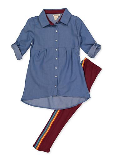 Girls 7-16 Chambray Tabbed Sleeve Shirt and Leggings,WINE,large