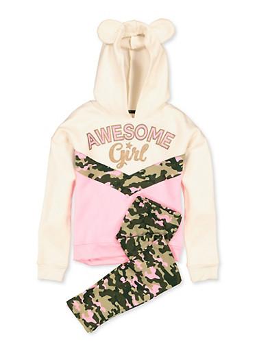 Girls 7-16 Awesome Girl Color Block Sweatshirt with Leggings,BLUSH,large