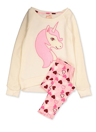 Girls 7-16 Faux Fur Unicorn Sweatshirt and Leggings,IVORY,large