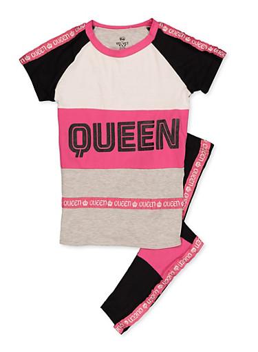 Girls 7-16 Queen Color Block Tee and Leggings Set,NEON PINK,large