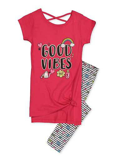 Girls 7-16 Good Vibes Tunic Tee with Striped Leggings,RED,large