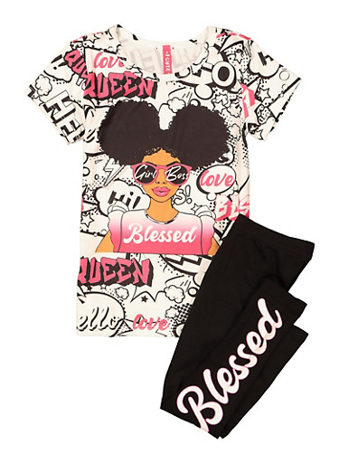 Girls Blessed Graphic Tee and Leggings Set,BLACK/WHITE,large
