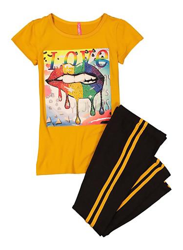 Girls Rainbow Lip Patch and Leggings,MUSTARD,large