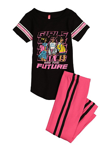 Girls Girls Are The Future Graphic Top and Leggings,BLACK,large