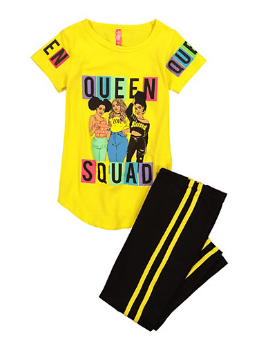 Girls Queen Squad Tee and Leggings,YELLOW,large