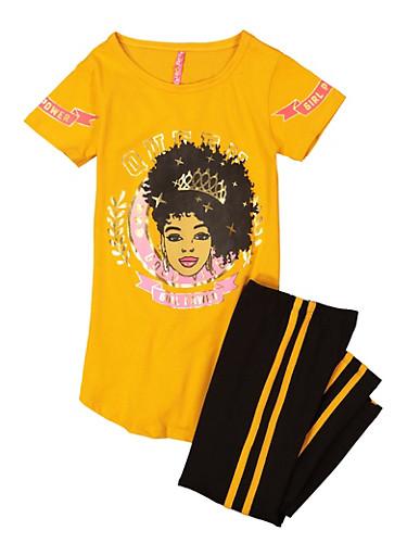 Girls Girl Power Graphic Tee and Leggings Set,MUSTARD,large
