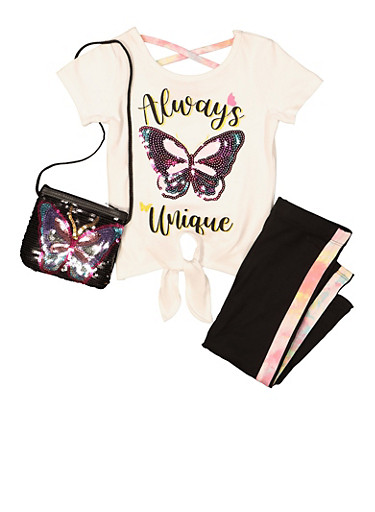Girls Always Unique Sequin Butterfly Top and Leggings Set,BLACK/WHITE,large