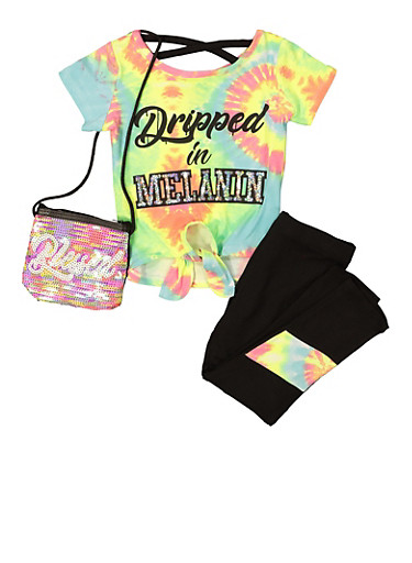 Girls Dripped In Melanin Top and Leggings Set,FUCHSIA,large