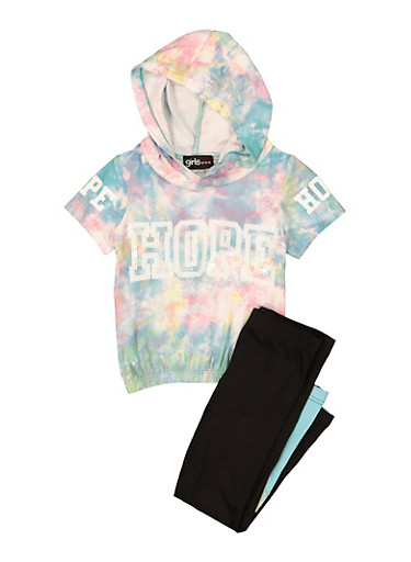 Girls Hope Sequin Graphic Hooded Top and Leggings Set,TURQUOISE,large