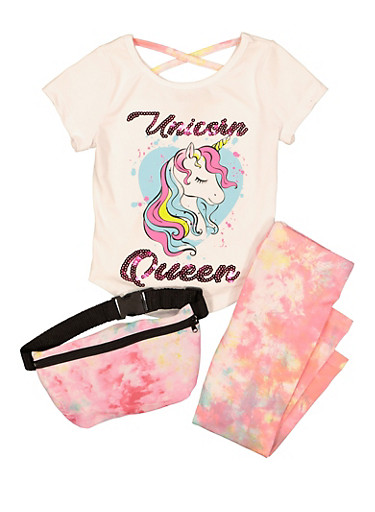 Girls Unicorn Queen Sequin Top and Leggings Set,WHITE,large