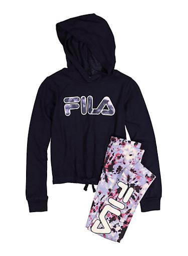 Girls Fila Hooded Top with Tie Dye Leggings,NAVY,large