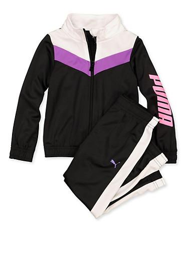 Girls 4-6x Puma Track Jacket with Joggers,BLACK,large