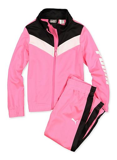 Girls 4-6x Puma Track Jacket and Joggers,FUCHSIA,large