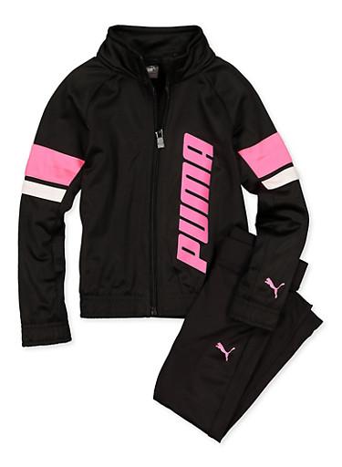 Girls 4-6x Puma Track Jacket and Leggings Set,BLACK,large