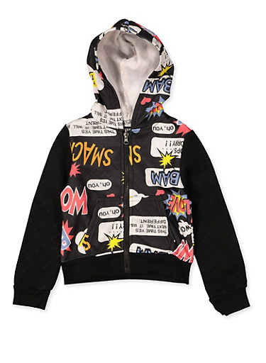 Girls 4-6x Pop Art Graphic Quilted Sweatshirt,MULTI COLOR,large
