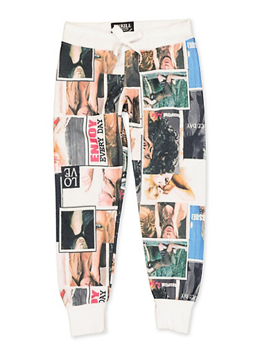 Girls 7-16 Magazine Print Quilted Joggers,MULTI COLOR,large