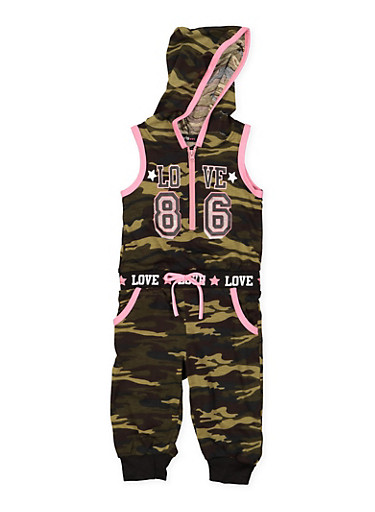 Girls 4-6x Love Graphic Camo Jumpsuit,HUNTER,large