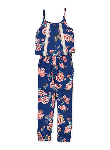 Girls 4-6x Floral Overlay Soft Knit Jumpsuit,NAVY,large