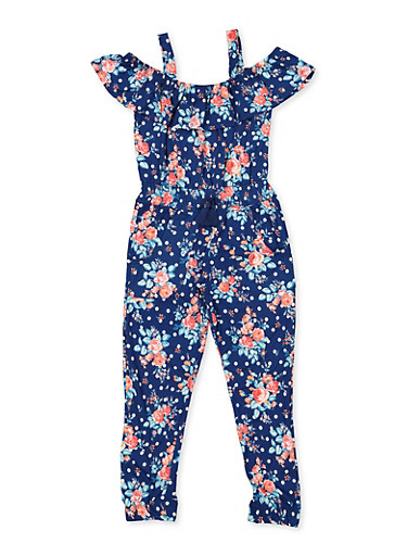Girls 4-6x Floral Cold Shoulder Jumpsuit,NAVY,large