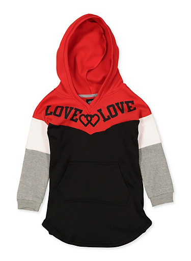 Girls 4-6x Color Block Love Sweatshirt Dress,BLACK,large