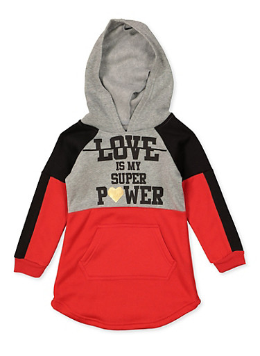 Girls 4-6x Love Is My Super Power Sweatshirt Dress,RED,large