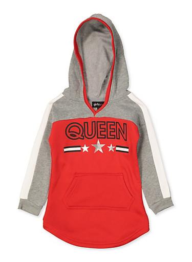 Girls 4-6x Queen Color Block Sweatshirt Dress,RED,large