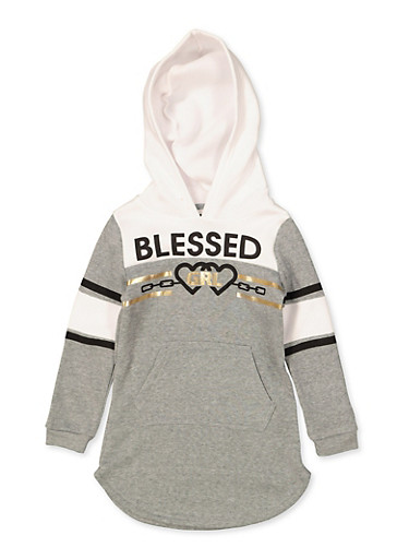 Girls 4-6x Blessed Grl Sweatshirt Dress,HEATHER,large