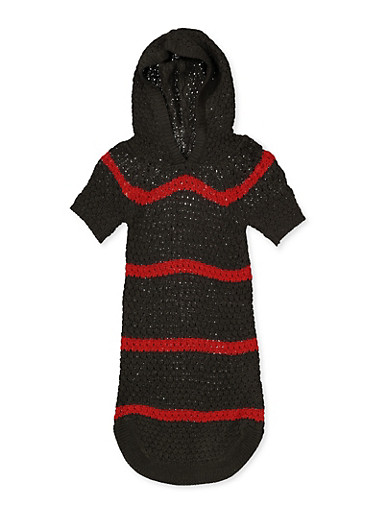Girls 4-6x Striped Hooded Sweater Dress,RED,large