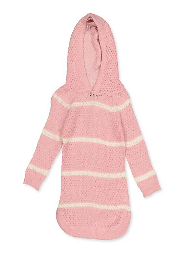 Girls 4-6x Hooded Striped Sweater Dress,WHITE,large
