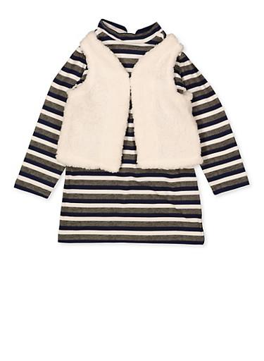 Girls 4-6x Striped Shift Dress with Sherpa Vest,NAVY,large