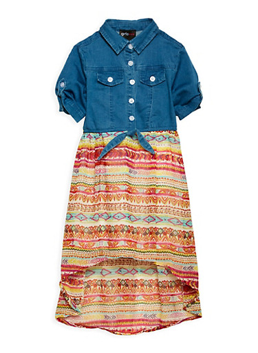 Girls 4-6x Denim and Printed High Low Dress,IVORY,large