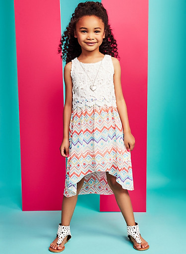 Girls 4-6x Printed High Low Dress with Necklace,IVORY,large