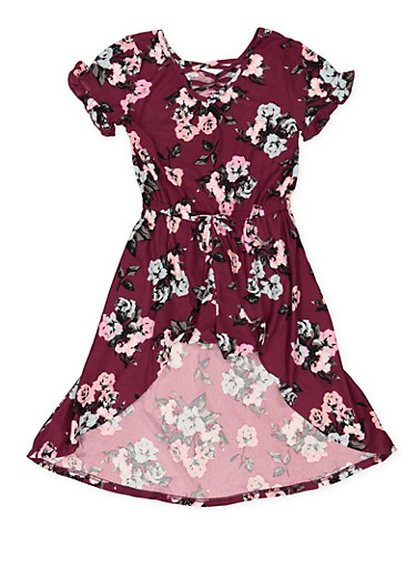Girls 4-6x Floral High Low Romper,WINE,large