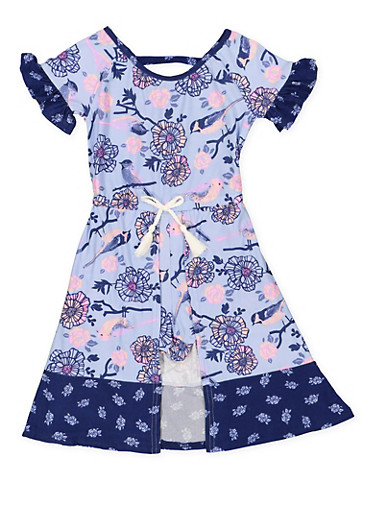 Girls 4-6x Floral Maxi Romper,BLUE,large