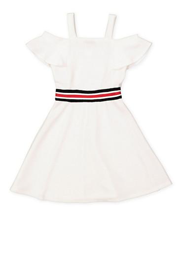 Girls 7-16 Ribbed Knit Trim Skater Dress,WHITE,large