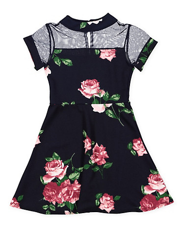 Girls 7-16 Floral Mesh Yoke Skater Dress,NAVY,large