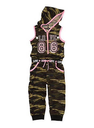 Girls 7-16 Camo Graphic Hooded Jumpsuit,HUNTER,large