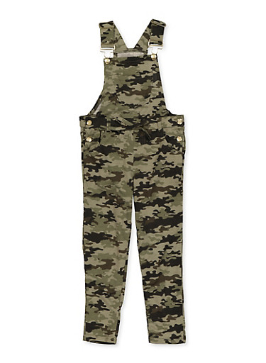 Girls 7-16 Camo Overalls,OLIVE,large