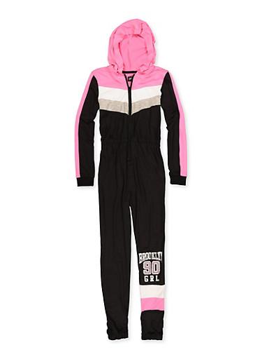 Girls 7-16 Brooklyn 90 Grl Color Block Jumpsuit,BLACK,large