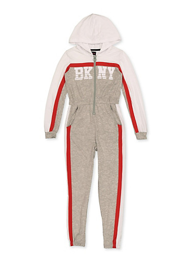 Girls 7-16 BKNY Color Block Jumpsuit,WHITE,large